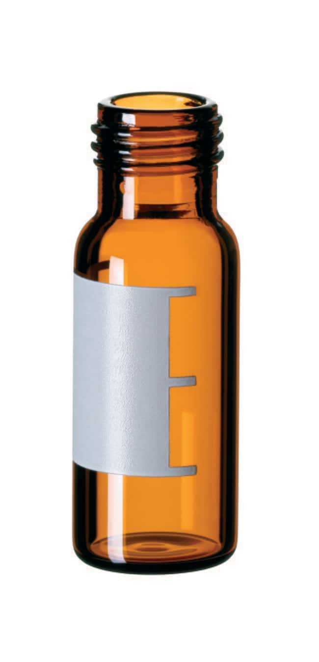 Fisherbrand™9mm Glasfläschchen mit Kurzgewinde, weite Öffnung, Braunglas Flacher Boden, aufgesetzt, 1,5ml Fisherbrand™9mm Glasfläschchen mit Kurzgewinde, weite Öffnung, Braunglas