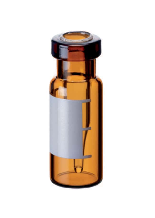 Fisherbrand™11mm Crimp Neck Vial, Amber Glass Top Bonded,integrated insert,conical,patched,0.2ml,32mm height Fisherbrand™11mm Crimp Neck Vial, Amber Glass