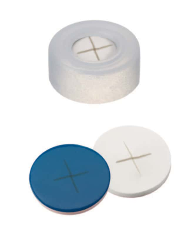 Fisherbrand™ 11mm PE Snap Ring Seal, Transparent, Center hole, Assembled septum Silicone/PTFE white/blue,cross-slit,1.0mm thickness,55° shore A Fisherbrand™ 11mm PE Snap Ring Seal, Transparent, Center hole, Assembled septum