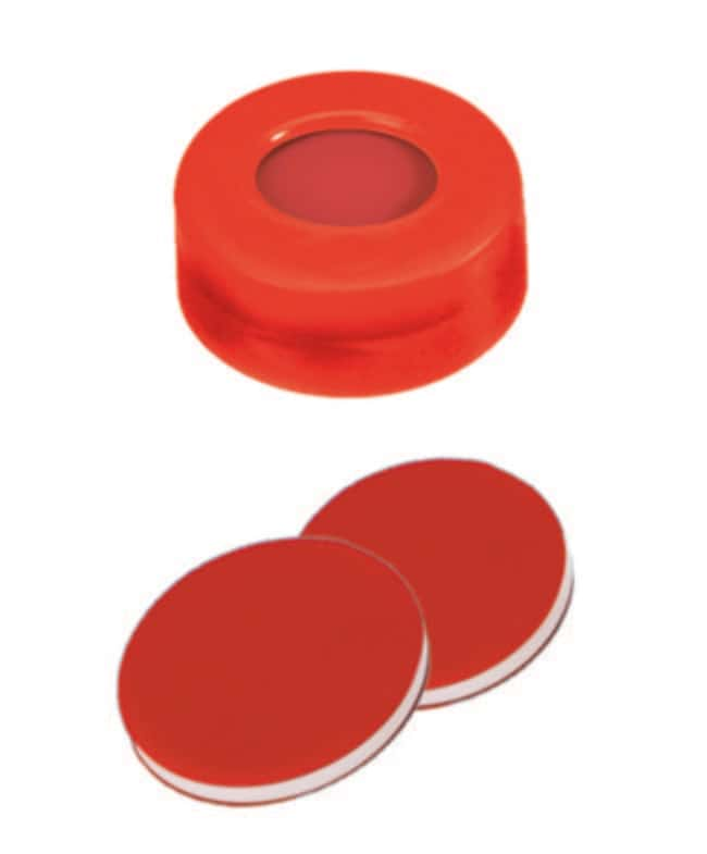 Fisherbrand™11mm PE Snap Ring Seal, Red, Center hole, assembled septum PTFE/Silicone/PTFE red/white/red,1.0mm thickness,45° shore A Fisherbrand™11mm PE Snap Ring Seal, Red, Center hole, assembled septum