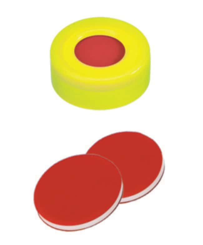 Fisherbrand™ 11mm PE Snap Ring Seal, Yellow, Center hole, Assembled septum PTFE/Silicone/PTFE red/white/red,1.0mm thickness,45° shore A Fisherbrand™ 11mm PE Snap Ring Seal, Yellow, Center hole, Assembled septum