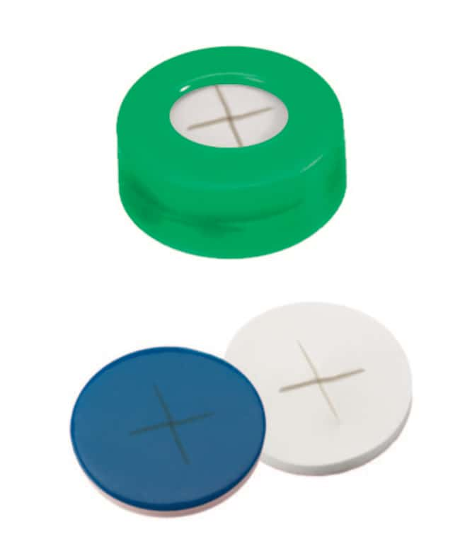 Fisherbrand™11mm PE Snap Ring Seal, Green, Center hole, Assembled septum Silicone/PTFE white/blue,cross-slit,1.0mm thickness,55° shore A Fisherbrand™11mm PE Snap Ring Seal, Green, Center hole, Assembled septum