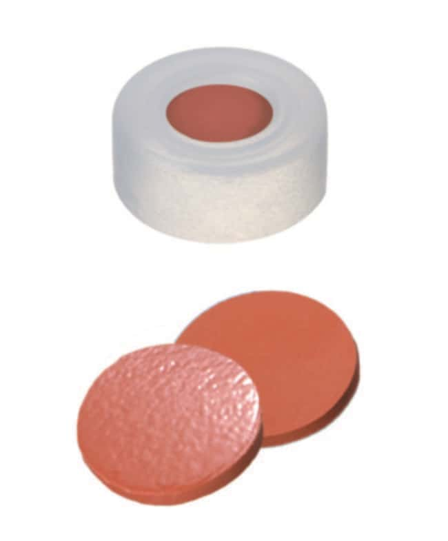 Fisherbrand™11mm PE Snap Ring Seal, Soft cap version, Center hole, Assembled septum transparent cap, Nat.Rubber/TEF red-orange/transp., 1.0mm thickness,60° shore A Fisherbrand™11mm PE Snap Ring Seal, Soft cap version, Center hole, Assembled septum