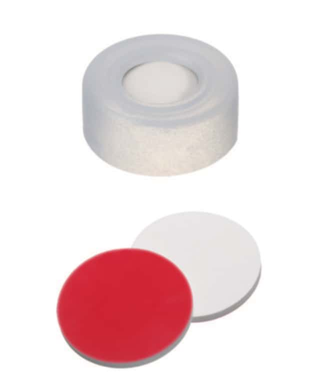 Fisherbrand™ 11mm PE Snap Ring Seal, Soft cap version, Center hole, Assembled septum transparent cap, Silicone/PTFE white/red , 1.3mm thickness,45° shore A Fisherbrand™ 11mm PE Snap Ring Seal, Soft cap version, Center hole, Assembled septum