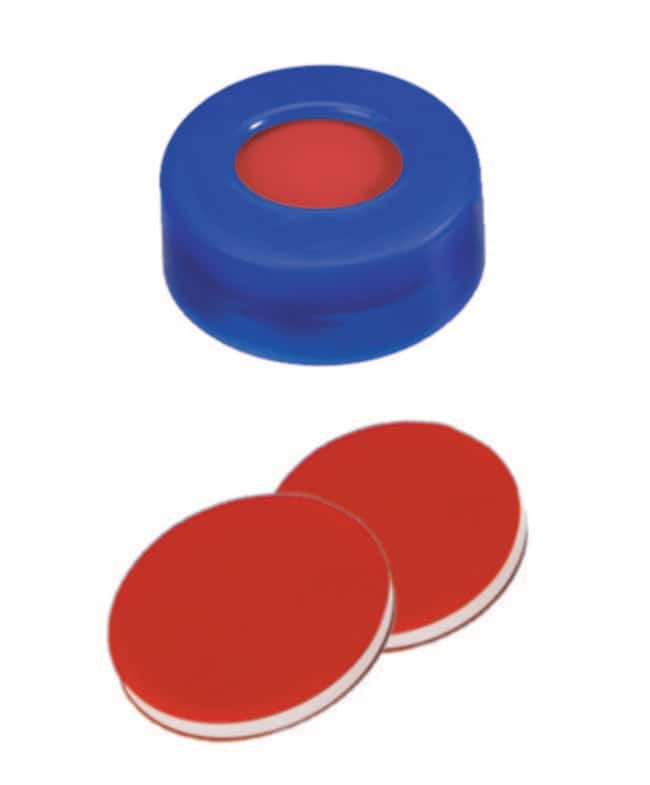 Fisherbrand™ 11mm PE Snap Ring Seal, Soft cap version, Center hole, Assembled septum blue cap, PTFE/Silicone/PTFE red/white/red, 1.0mm thickness,,45° shore A Fisherbrand™ 11mm PE Snap Ring Seal, Soft cap version, Center hole, Assembled septum