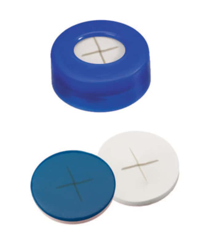 Fisherbrand™ 11mm PE Snap Ring Seal, Soft cap version, Center hole, Assembled septum blue cap, Silicone/PTFE white/blue,cross-slit, 1.0mm thickness,55° shore A Fisherbrand™ 11mm PE Snap Ring Seal, Soft cap version, Center hole, Assembled septum