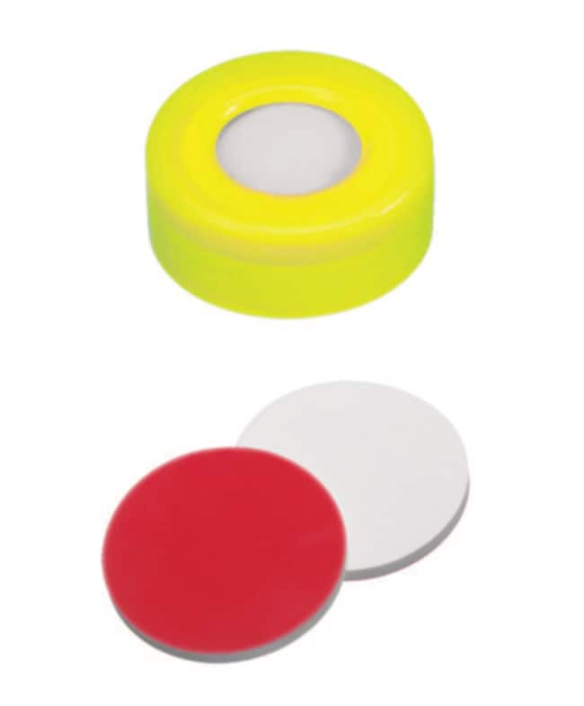 Fisherbrand™ 11mm PE Snap Ring Seal, Yellow, Center hole, Assembled septum Silicone/PTFE white/red ,1.3mm thickness,45° shore A Fisherbrand™ 11mm PE Snap Ring Seal, Yellow, Center hole, Assembled septum
