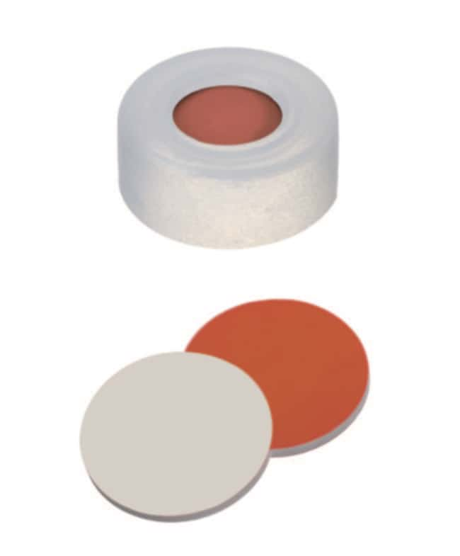 Fisherbrand™ 11mm PE Snap Ring Seal, Soft cap version, Center hole, Assembled septum transparent cap, RedRubber/PTFE red-orange/beige, 1.0ickness,,45° shore A Fisherbrand™ 11mm PE Snap Ring Seal, Soft cap version, Center hole, Assembled septum