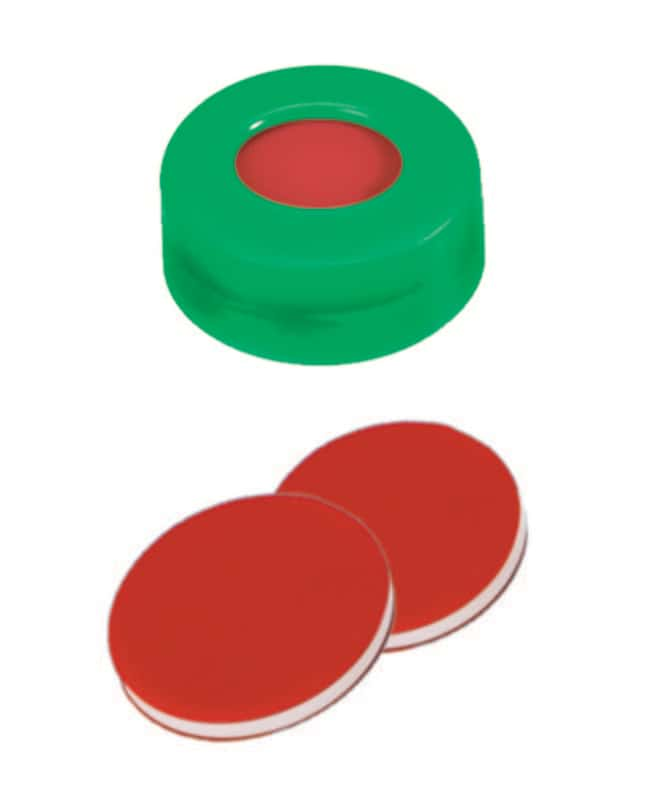 Fisherbrand™11mm PE Snap Ring Seal, Green, Center hole, Assembled septum PTFE/Silicone/PTFE red/white/red,1.0mm thickness,45° shore A Fisherbrand™11mm PE Snap Ring Seal, Green, Center hole, Assembled septum