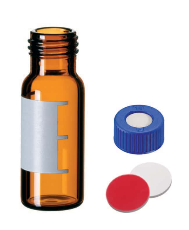 Fisherbrand™Certified Vial Kit 9mm short thread, Amber Glass, 1.5mL, PP Screw Cap, Center hole, Silicone/PTFE septum patched,1.0 mm thickness,45° shore A Fisherbrand™Certified Vial Kit 9mm short thread, Amber Glass, 1.5mL, PP Screw Cap, Center hole, Silicone/PTFE septum