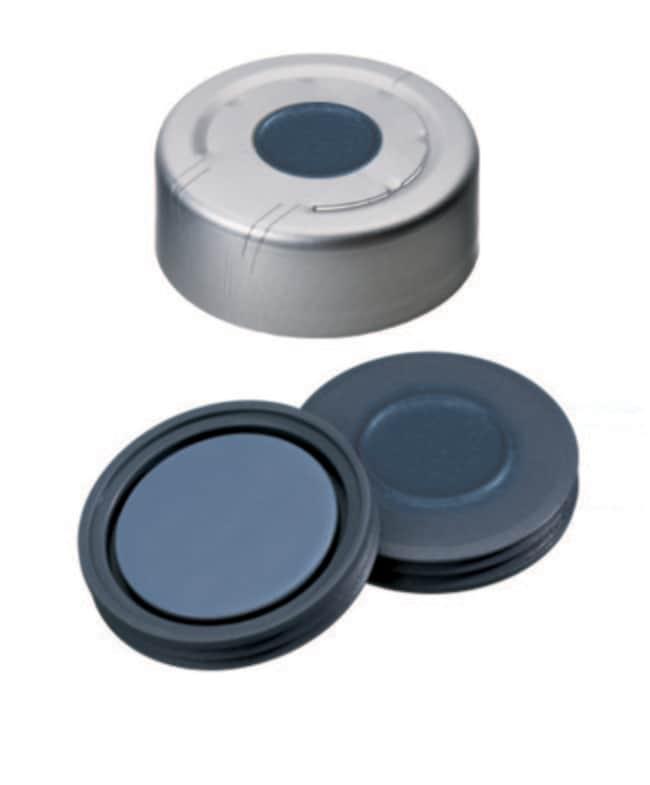 Fisherbrand™13mm Crimp Seal, Silver, center hole, assembled septum Pharma-Fix-Septa (Butyl/PTFE) blue/grey,2.0mm thickness,50° shore A Fisherbrand™13mm Crimp Seal, Silver, center hole, assembled septum