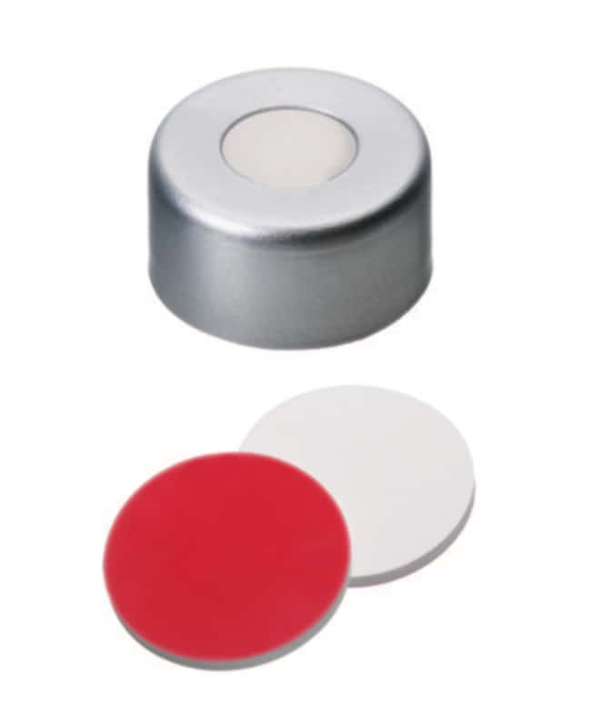 Fisherbrand™Joint serti de 13mm, argent, trou central, septum assemblé Silicone / PTFE blanc / rouge ,1.3mm d'épaisseur ,45 Shore A Fisherbrand™Joint serti de 13mm, argent, trou central, septum assemblé