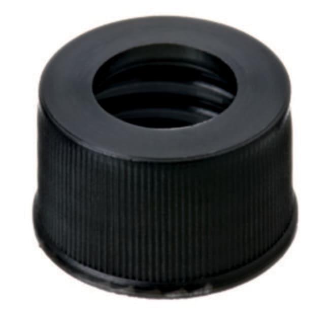 Fisherbrand™18mm PP Screw Cap, Black, Center hole, 18-400 thread centre hole,black Fisherbrand™18mm PP Screw Cap, Black, Center hole, 18-400 thread