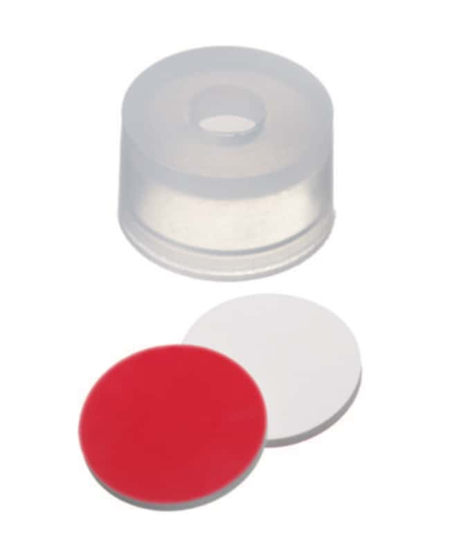 Fisherbrand™ 13mm Snap Cap, Transparent, Center hole Silicone/PTFE white/red,1.0mm thickness,55° shore A Fisherbrand™ 13mm Snap Cap, Transparent, Center hole