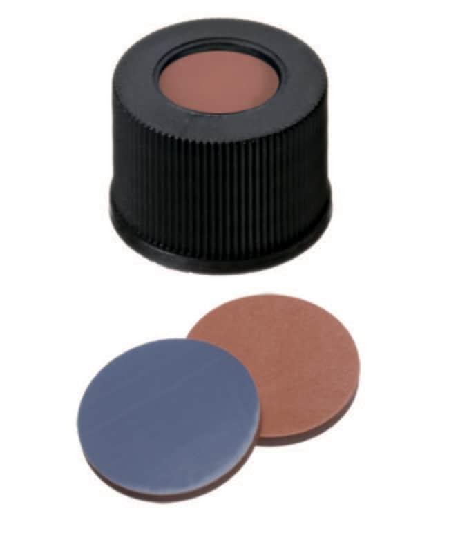 Fisherbrand™13mm PP Screw Seal, Black, Center hole, 13-425 thread, Assembled septum Butyl/PTFE red/grey,1.3mm thickness,55° shore A Fisherbrand™13mm PP Screw Seal, Black, Center hole, 13-425 thread, Assembled septum