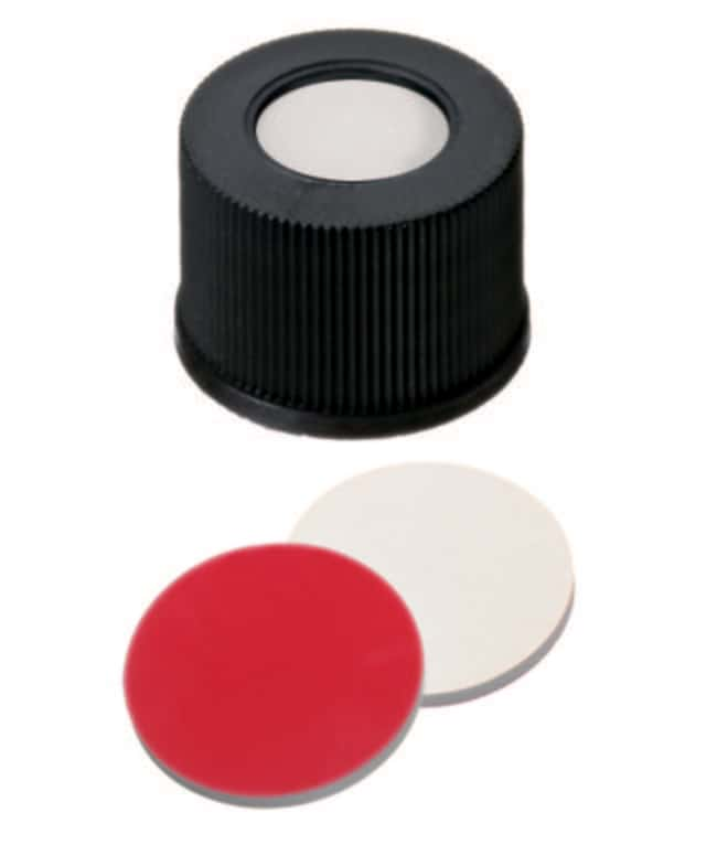 Fisherbrand™ 15mm PP Screw Seal, Black, Center hole, 15-425 thread, Assembled septum Silicone/PTFE white/red,1.3mm thickness,45° shore A Fisherbrand™ 15mm PP Screw Seal, Black, Center hole, 15-425 thread, Assembled septum