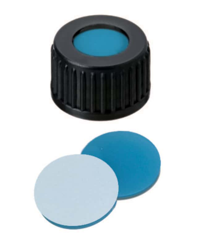 Fisherbrand™ 18mm PP Screw Seal, Black, open top, 18-400 thread, Assembled septum Silicone/PTFE transparent blue/white,1.7mm thickness,45° shore A Fisherbrand™ 18mm PP Screw Seal, Black, open top, 18-400 thread, Assembled septum