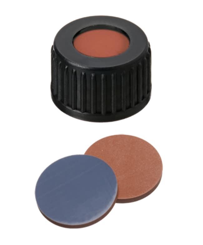 Fisherbrand™18mm PP Screw Seal, Black, open top, 18-400 thread, Assembled septum Butilo/PTFE rojo/gris, 1,6mm de grosor, 55° shore A Fisherbrand™18mm PP Screw Seal, Black, open top, 18-400 thread, Assembled septum