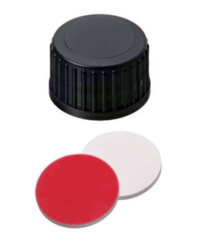 Fisherbrand™ 18mm PP Screw Seal, Black, Closed top, 18-400 thread, Assembled septum Silicone/PTFE white/red,1.5mm thickness,55° shore A Fisherbrand™ 18mm PP Screw Seal, Black, Closed top, 18-400 thread, Assembled septum