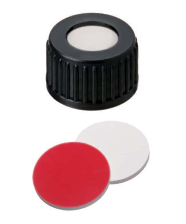 Fisherbrand™ 18mm PP Screw Seal, Black, open top, 18-400 thread, Assembled septum Silicone/PTFE white/red,1.5mm thickness,55° shore A Fisherbrand™ 18mm PP Screw Seal, Black, open top, 18-400 thread, Assembled septum
