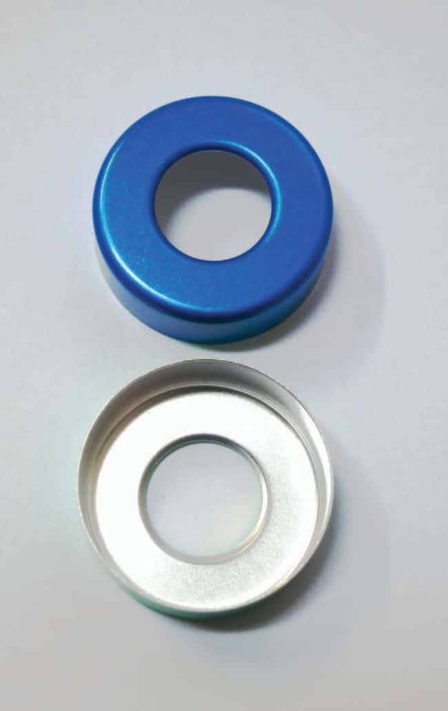 Fisherbrand™ 20mm Crimp Cap centre hole,blue lacquered Fisherbrand™ 20mm Crimp Cap