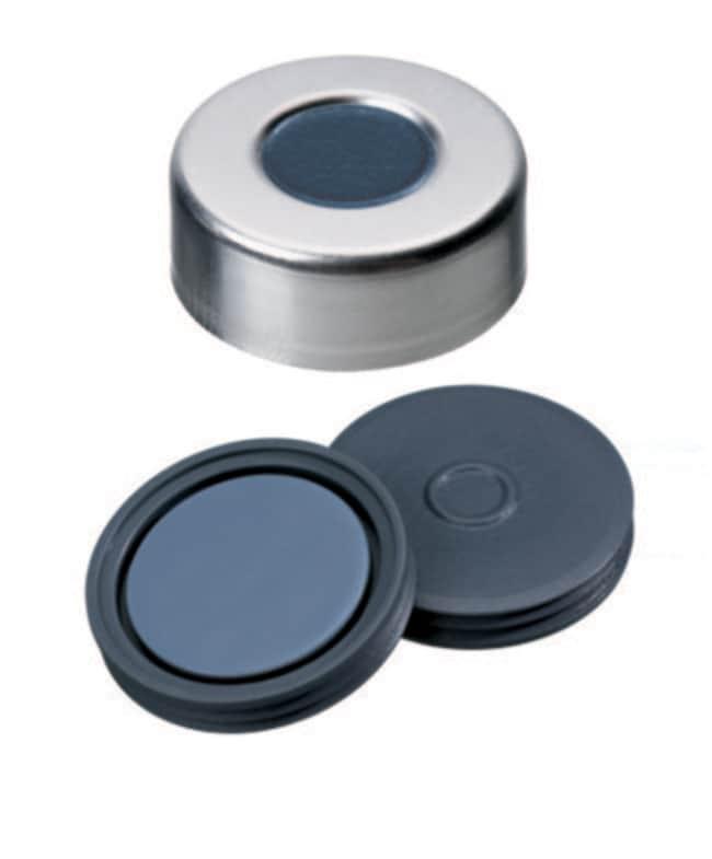 Fisherbrand™20mm Crimp Seal, Silver, Aluminum Cap, 10mm Center Hole, Assembled Septum Pharma-Fix-Septa (Butyl/PTFE) blue/grey,3.0mm thickness,50° shore A, Fisherbrand™20mm Crimp Seal, Silver, Aluminum Cap, 10mm Center Hole, Assembled Septum