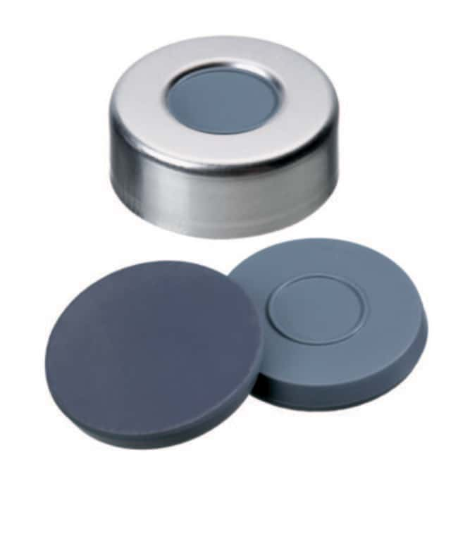 Fisherbrand™ 20mm Crimp Seal, Silver, Aluminum Cap, 10mm Center Hole, Assembled Septum Butyl/PTFE grey/grey,3.0mm thickness,50° shore A, Fisherbrand™ 20mm Crimp Seal, Silver, Aluminum Cap, 10mm Center Hole, Assembled Septum