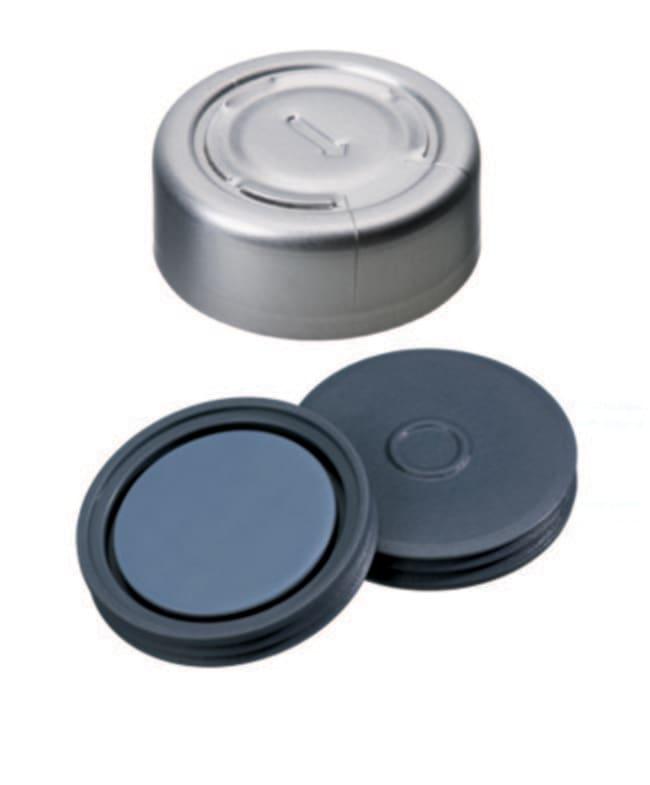 Fisherbrand™20mm Crimp Seal, Silver, Complete Tear-Off Cap, Assembled septum Pharma-Fix-Septa (Butyl/PTFE) blue/grey,3.0mm thickness,50° shore A, Fisherbrand™20mm Crimp Seal, Silver, Complete Tear-Off Cap, Assembled septum