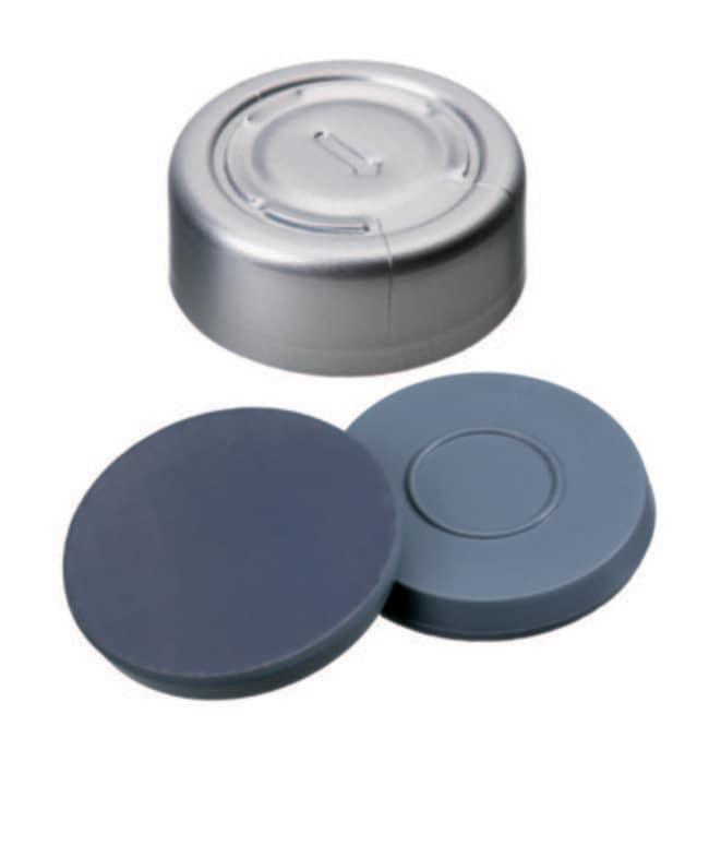Fisherbrand™20mm Crimp Seal, Silver, Complete Tear-Off Cap, Assembled septum Butyl/PTFE grey/grey,3.0mm thickness,50° shore A, Fisherbrand™20mm Crimp Seal, Silver, Complete Tear-Off Cap, Assembled septum