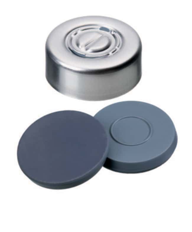Fisherbrand™20mm Crimp Seal, Silver, Center Tear-Off Cap, assembled septum Butyl/PTFE grey/grey,3.0mm thickness,50° shore A, Fisherbrand™20mm Crimp Seal, Silver, Center Tear-Off Cap, assembled septum