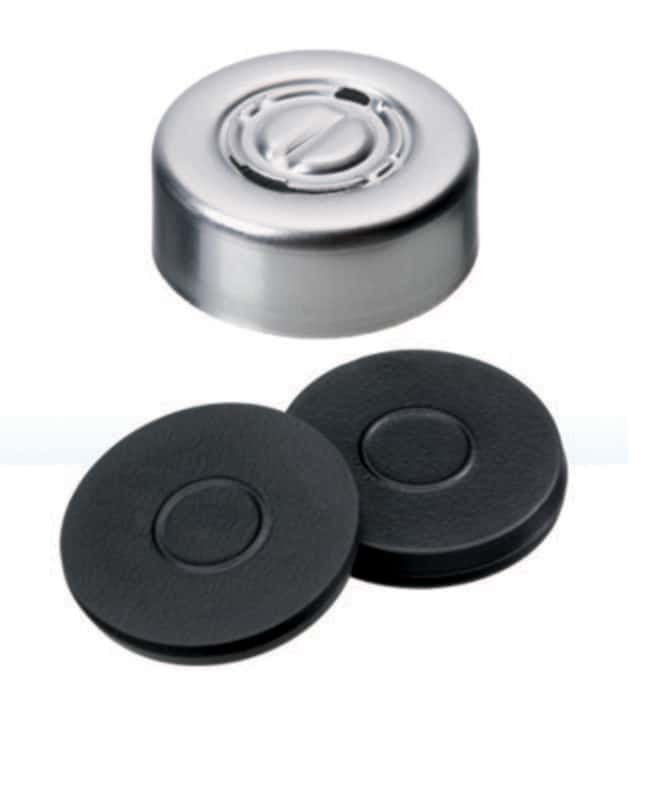 Fisherbrand™ 20mm Crimp Seal, Silver, Center Tear-Off Cap, assembled septum Butyl dark grey,3.0mm thickness,55° shore A Fisherbrand™ 20mm Crimp Seal, Silver, Center Tear-Off Cap, assembled septum