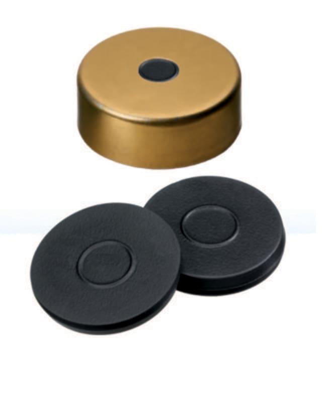 Fisherbrand™20mm Crimp Seal, Gold, Magnetic Cap, 5mm Center hole, Assembled septum Butyl dark grey,3.0mm thickness,55° shore A Fisherbrand™20mm Crimp Seal, Gold, Magnetic Cap, 5mm Center hole, Assembled septum