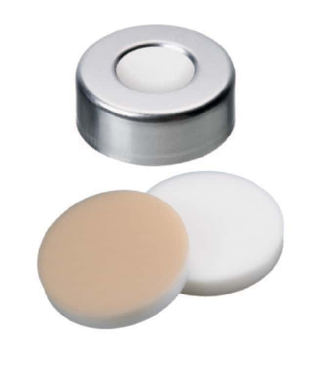 Fisherbrand™20mm Crimp Seal, Silver, Aluminum Cap, 10mm Center Hole, Assembled Septum Silicone/PTFE white/beige,3.2mm thickness,45° shore A Fisherbrand™20mm Crimp Seal, Silver, Aluminum Cap, 10mm Center Hole, Assembled Septum