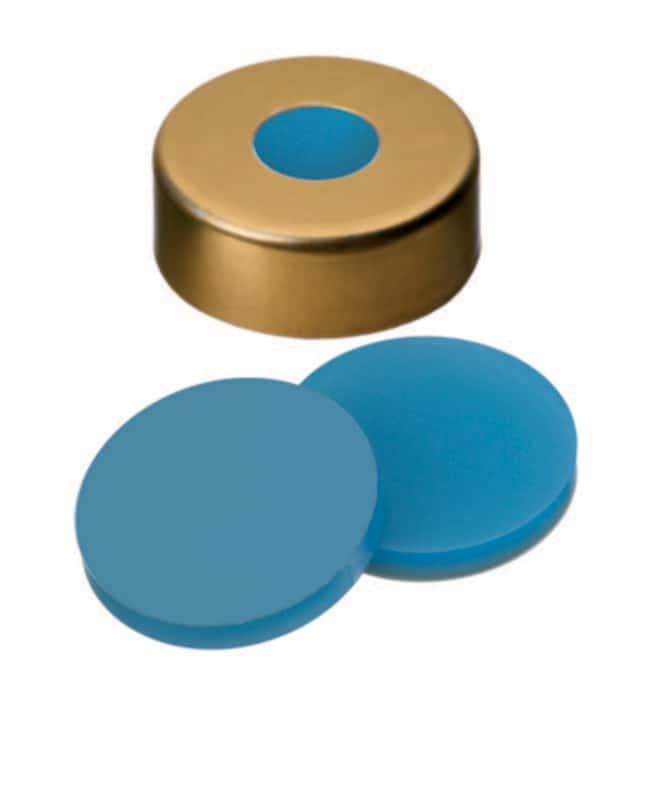 Fisherbrand™ 20mm Crimp Seal, Gold, Magnetic Cap, 8mm Center hole, assembled septum Silicone/PTFE transparent blue/transparent,3.0mm thickness,45° shore A Fisherbrand™ 20mm Crimp Seal, Gold, Magnetic Cap, 8mm Center hole, assembled septum