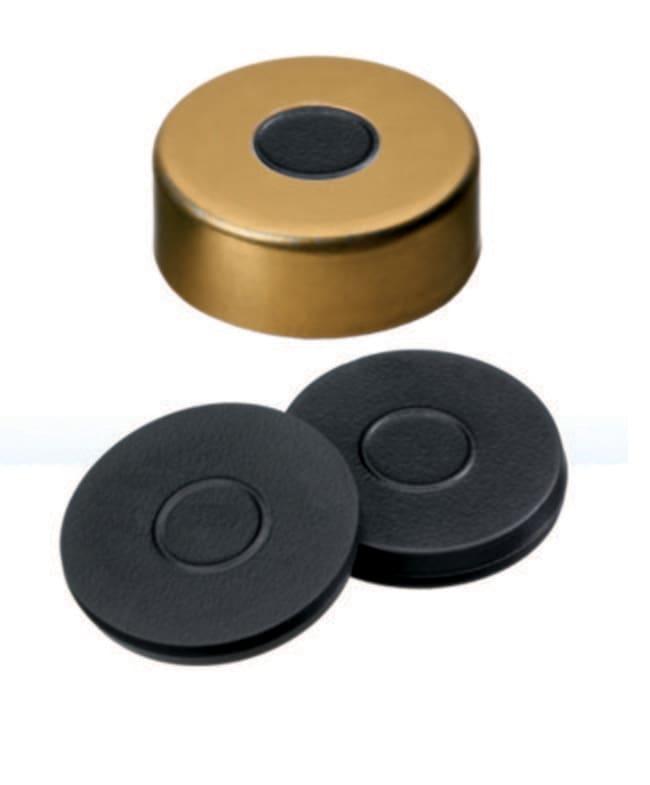 Fisherbrand™20mm Crimp Seal, Gold, Magnetic Cap, 8mm Center hole, assembled septum Butyl dark grey,3.0mm thickness,55° shore A Fisherbrand™20mm Crimp Seal, Gold, Magnetic Cap, 8mm Center hole, assembled septum