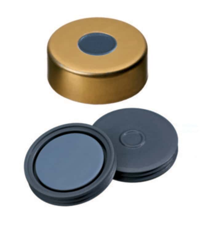 Fisherbrand™ 20mm Crimp Seal, Gold, Magnetic Cap, 8mm Center hole, assembled septum Pharma-Fix-Septa (Butyl/PTFE) blue/grey, 3.0mm thickness,50° shore A, Fisherbrand™ 20mm Crimp Seal, Gold, Magnetic Cap, 8mm Center hole, assembled septum