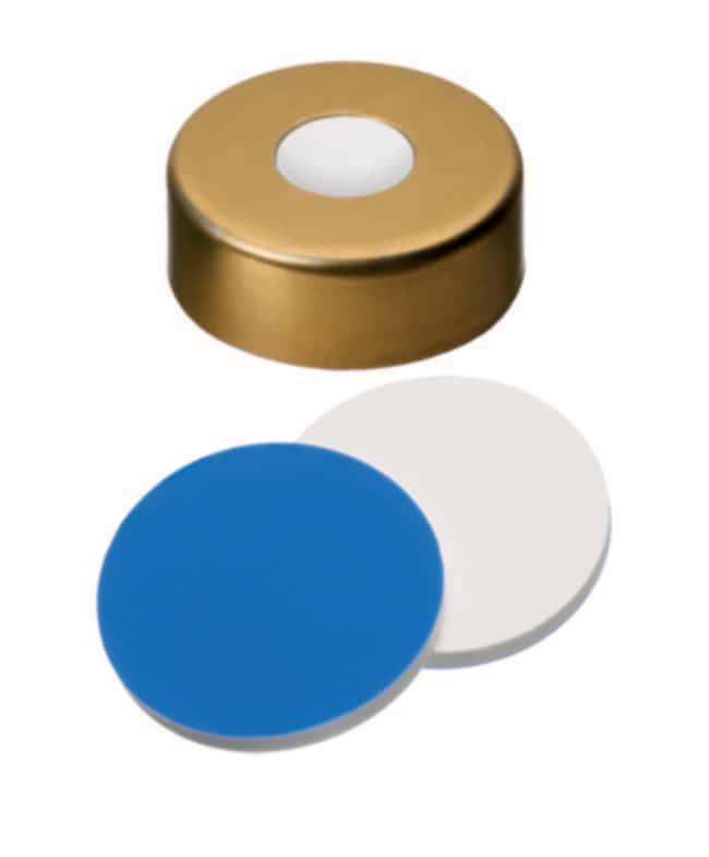 Fisherbrand™Septum assemblé avec capsule à sertir 20mm, or, bouchon magnétique, trou central 8mm Silicone/ PTFE blanc/ bleu; Épaisseur ,1.5mm; Shore A,55 Fisherbrand™Septum assemblé avec capsule à sertir 20mm, or, bouchon magnétique, trou central 8mm