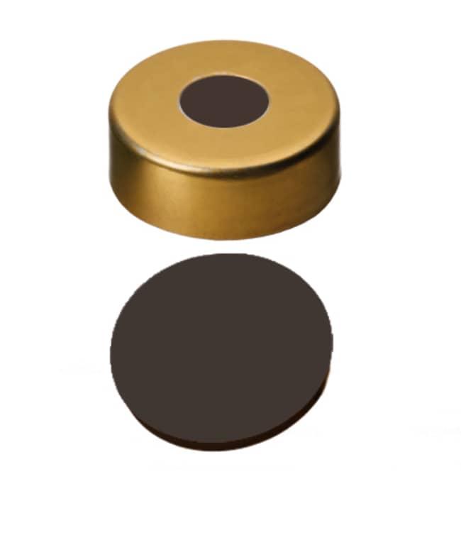 Fisherbrand™20mm Crimp Seal, Gold, Magnetic Cap, 8mm Center hole, assembled septum Viton 1A black,1.0mm thickness,70° shore A Fisherbrand™20mm Crimp Seal, Gold, Magnetic Cap, 8mm Center hole, assembled septum