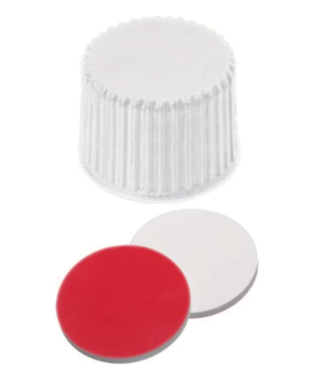 Fisherbrand™ 20mm PP Screw Seal, White, Closed top, 20-400 thread, Assembled septum Silicone/PTFE white/red,1.3mm thickness,45° shore A Fisherbrand™ 20mm PP Screw Seal, White, Closed top, 20-400 thread, Assembled septum