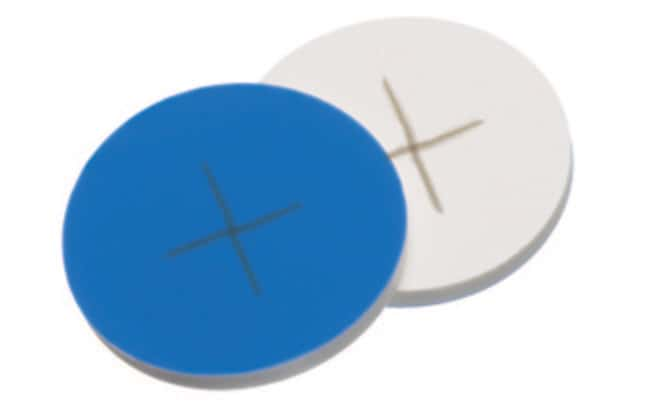 Fisherbrand™Septum for 24-400 Screw Thread Cap Silicone/PTFE white/blue,cross-slit ,1.5 mm thickness,55° shore A Fisherbrand™Septum for 24-400 Screw Thread Cap