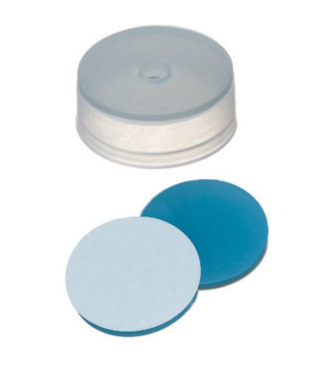 Fisherbrand™22mm PE, Cap, Transparent, 4.3mm Center hole, 22 x 8.4mm, Assembled septum Silicone/PTFE transparent blue/transparent,1.3mm thickness,45° shore A Fisherbrand™22mm PE, Cap, Transparent, 4.3mm Center hole, 22 x 8.4mm, Assembled septum