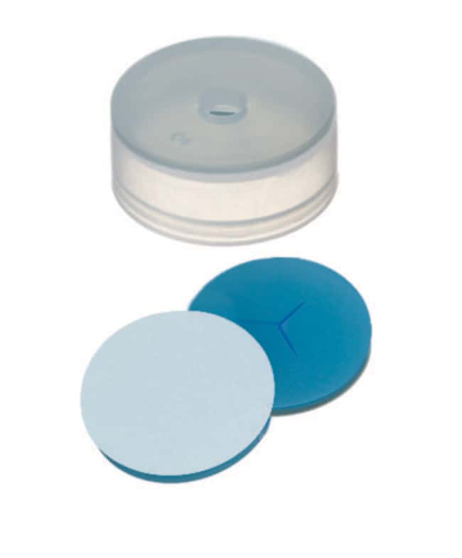 Fisherbrand™22mm PE, Cap, Transparent, 4.3mm Center hole, 22 x 9.1mm, Assembled septum Silicone/PTFE transparent blue/transparent,Y-slitted,1.3mm thickness,45° shore A Fisherbrand™22mm PE, Cap, Transparent, 4.3mm Center hole, 22 x 9.1mm, Assembled septum