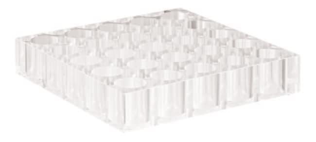 Fisherbrand™Acrylic Racks for Autosampler Vials Cavities diameter: 24mm,25 cavities,dimensions 160 x 160 x 30 mm Fisherbrand™Acrylic Racks for Autosampler Vials