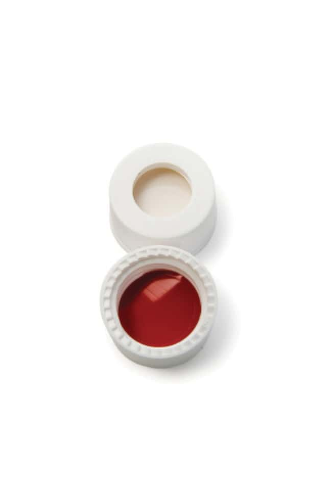 Fisherbrand™ 8mm PP Screw Seal, White, Center hole, 8-425 thread, Assembled septum Silicone/PTFE white/red,1.3mm thickness,45° shore A Fisherbrand™ 8mm PP Screw Seal, White, Center hole, 8-425 thread, Assembled septum