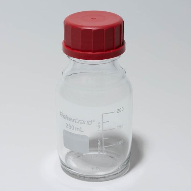 Fisherbrand™Hochtemperatur-Medienflaschen aus Glas mit roter Kappe Fassungsvermögen: 250ml Produkte