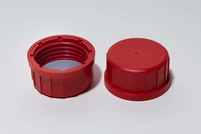 Fisherbrand™Rote Schraubkappen mit PTFE-Beschichtung Kann verwendet werden mit: Laborflaschen und Dosen Verschlusskappen