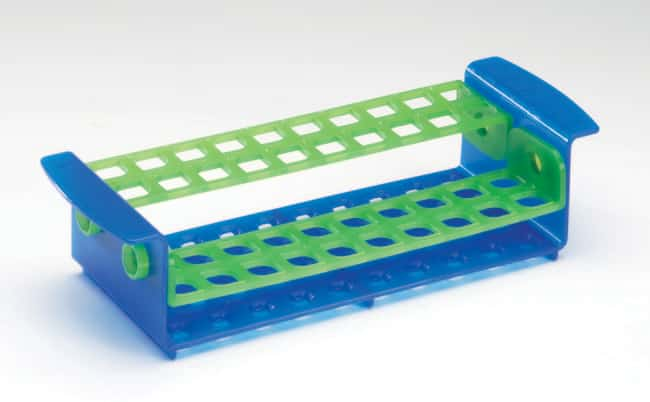 Fisherbrand™ 40-Place Tube Rack with Rotating Shelves Color: Blue/Green Fisherbrand™ 40-Place Tube Rack with Rotating Shelves