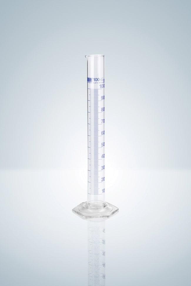Hirschmann™Class B Measuring Cylinders, Blue Stain Graduation Capacity: 25mL; Height: 170mm; Blue Graduations; Hexagonal Glass Socket Hirschmann™Class B Measuring Cylinders, Blue Stain Graduation