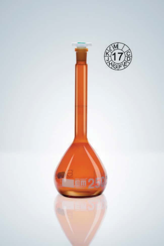 Hirschmann™ Class A Amber Glass Volumetric Flasks with Poly Stopper Capacity: 10mL; Socket Joint: 7/16 NS Standard Ground; Tolerance: ±0.025mL Hirschmann™ Class A Amber Glass Volumetric Flasks with Poly Stopper
