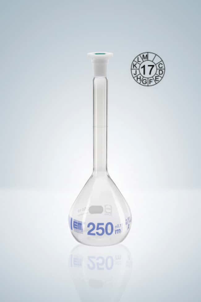 Hirschmann™Class A Volumetric Flasks with Poly Stopper, Blue Graduation Capacity: 5mL; Socket Joint: 10/19 NS Standard Ground Hirschmann™Class A Volumetric Flasks with Poly Stopper, Blue Graduation